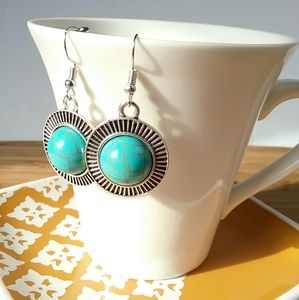 Round Disk Silver & Turquoise Earrings
